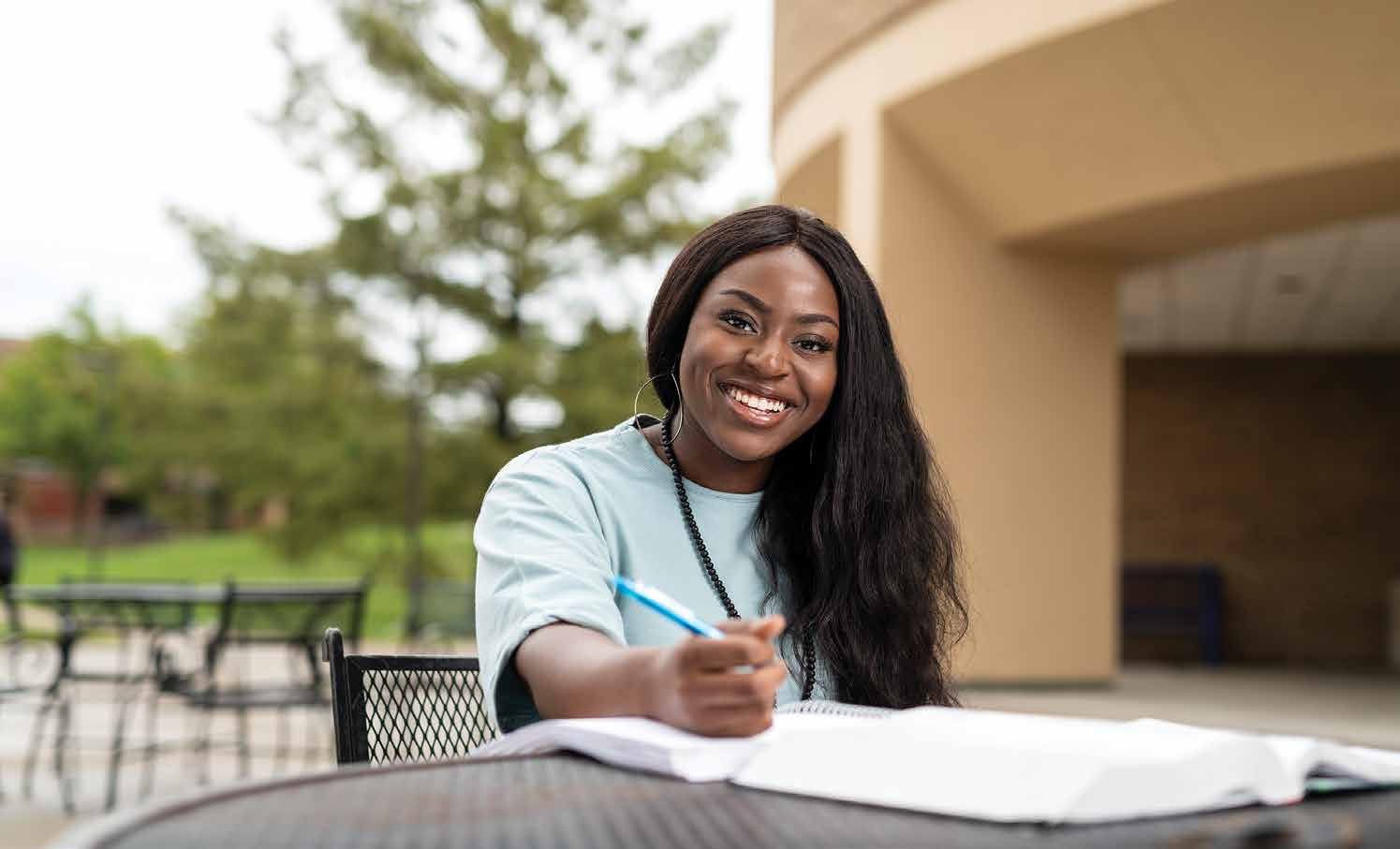 Kelechi Ofodu, a 17-year-old Degree in 3 student from Lee's Summit, Missouri, starts classes at Metropolitan Community College this fall. She'll take advantage of KU Edwards Campus' MetroRate to pay in-state tuition costs.Photo by Steve Puppe.
