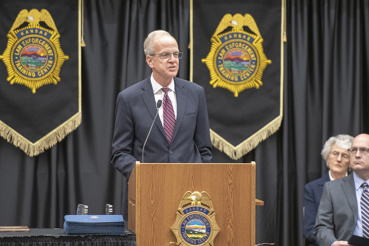 Senator Jerry Moran delivers the commencement address during the 255th basic training class graduation on May 10 at the Kansas Law Enforcement Training Center.