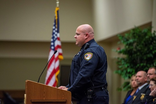 Class president John Williams of the Hutchinson Police Department delivers remarks to the Kansas Law Enforcement Training Center's 257th graduating class. This year's class represented 39 law enforcement agencies from across the state of Kansas.