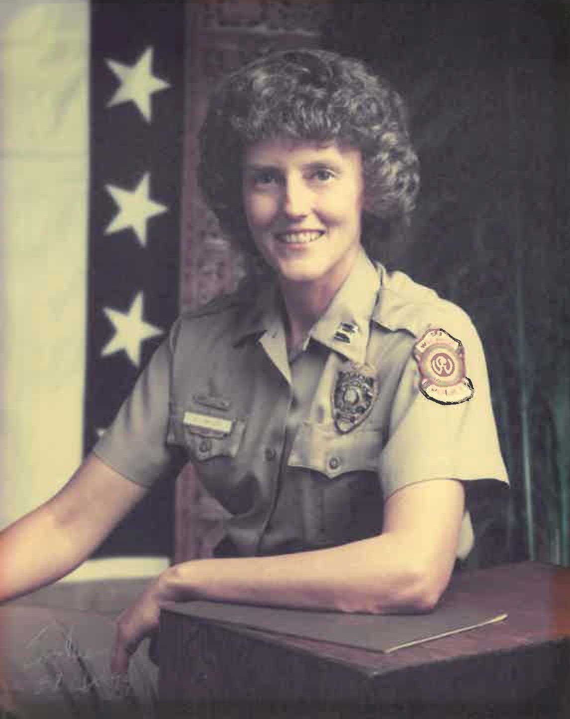 By the time of this photograph in 1989, Beckie Miller had risen in the ranks to captain with the Wichita Police Department.